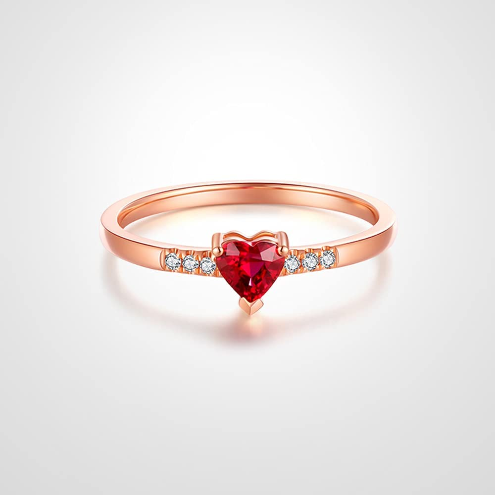 De Lapoll 14K Rose Gold Natural Pigeon Blood Ruby Rings Engagement Promise Rings Anniversary for Women Ladies