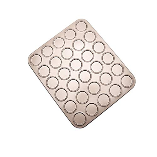 LIANGCHEN Macaron Baking Mold, Carbon Steel Cookie Baking Sheet Pan Shallow Bakeware, Non-Stick Baking Tray Oven Liner Tools for Pastry, Brioche(30-Capacity)