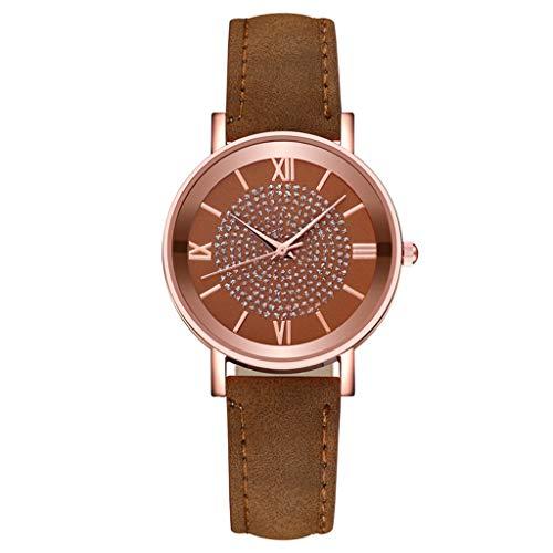 MEITING Einfache Mode Quarzuhr,Business Damenuhr,Mod Frauen Einfache Uhr Damen Classic Elegant Quartz Armbanduhr Wasserdichtes Edelstahl Zifferblatt Casual Lederband Uhr Armband (Braun)