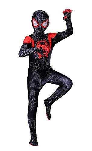 ZUOZHE Disfraz De Spiderman Infantil Fiesta De Halloween Cosplay Juegos Disfraces Traje Fiesta De Superhéroe,Black-(140~150cm)