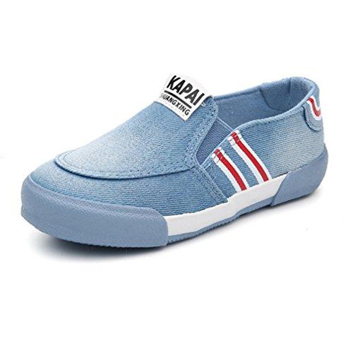 Qianliuk Unisex-Kinder Sneaker Canvas Slipper Elastische Schnellverschluss Rundzehen Weiche Sohle Abriebfest rutschfest Schick Freizeit Halbschuhe Hellblau 36
