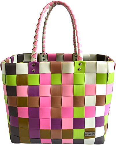 normani® Einkaufstasche Shopper geflochten aus Kunststoff - robuster Strandkorb Vintage Style 38cm x 25cm x 28cm Farbe Classic/Orchidea