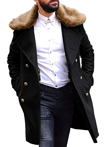 Mens Stylish Trench Coat Removable Faux Fur Collar Topscoat Double Breasted Winter Overcoat Warm Long Pea Coat