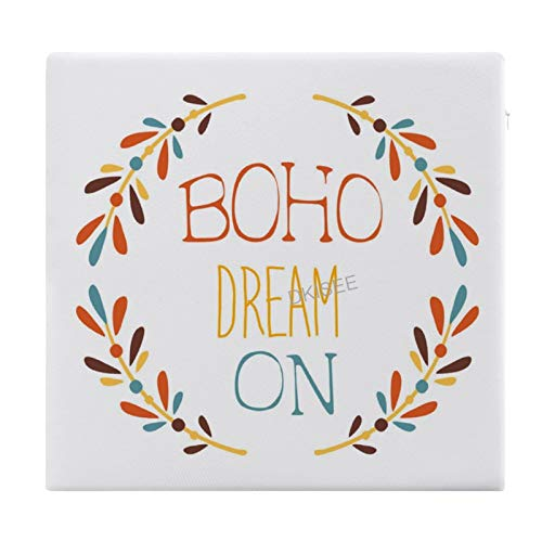 DKISEE Dream on Slogan Ethnic Boho Hipster Style Round/Square Seat Cushion, Polyester Soft Memory Foam Chair Pad for Tatami Carpet Wooden Floor Office Kitchen Dining Chairs, 15x14 Inch