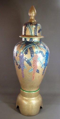 有田焼・伊万里焼|陶器沈香壺・花瓶|贈答品|ギフト|贈り物|記念品|黄金藤絵・藤井錦彩
