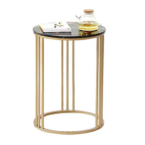 YIKE-salontafel Nordic smeedijzeren bijzettafel/ronde hoektafel, natuurlijke marmer tafelblad, hoge temperatuur bakken afwerking, voor woonkamer, klein appartement, afmeting: 50cm, 60cm