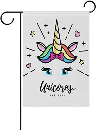 N/A Bandera de jardín Fantacy Unicornio cara Emoji de doble cara bandera de casa bandera de vacaciones decoración para patio casa al aire libre decoración 12 x 18 pulgadas, Un color, 12 x 18 in