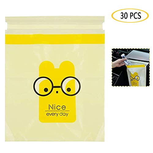 Wagenziekte Bag, biologisch afbreekbaar en composteerbaar Vuilniszak vuilnisbak Bag Car prullenbak Gag Disposable Container Bag voor Office Babykamer Badkamer studeerkamer,30 Pcs