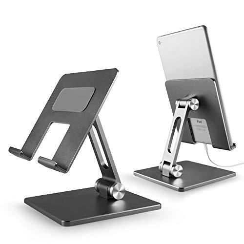 NKLL Soporte de la computadora Tablet PC Soporte aleación de Aluminio Plegable Tableta Soporte Ajustable iPad computadora Perezoso Escritorio Soporte para Escritorio (Color : Silver)