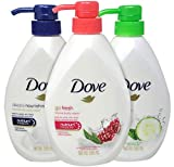 Dove Body Wash Variety Pack, Deeply Nourishing, Pomegranate & Lemon Verbena and Cucumber & Green Tea Pump Bottles, 18.5 Ounces (Pack of 3)