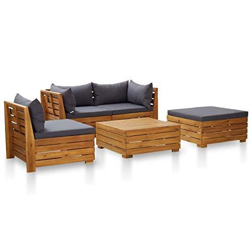 Tidyard Conjuntos Sofa Exterior Tumbonas Jardin Exterior Muebles de jardín 5 pzas y Cojines Madera de Acacia Gris Oscuro