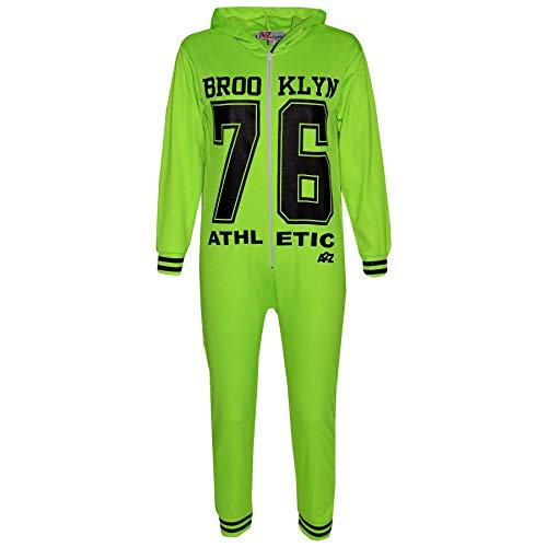Kinder Mädchen Jungen Brooklyn 76 Athlectic Onesie All in One Sommer Jumpsuit PJ Alter 7 8 9 10 11 12 13 Jahre Gr. 5-6 Jahre, neon green