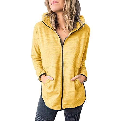 Katenyl Abrigo de sudadera con capucha para mujer con bolsillos con cremallera Color sólido Tallas grandes Chaqueta de entrenamiento de moda informal para correr XL