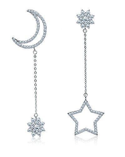 Dames kristallen oorbellen hangend - maan, ster aan kettinkje van 925 sterling zilver - wit