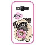 Hapdey Funda Rosa para [ Samsung Galaxy Core Prime G360 ] diseño [ Cachorro Pug, Que tengas un día Dulce ] Carcasa Silicona Flexible TPU