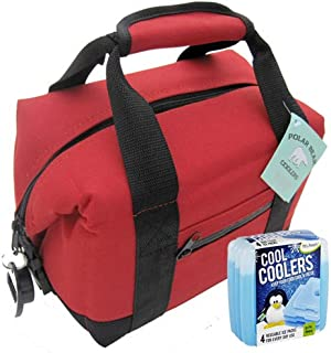 Polar Bear Coolers Nylon Series Soft Cooler Tote Size 6 Pack + Fit & Fresh Cool Coolers Slim Ice 4-Pack Bundle