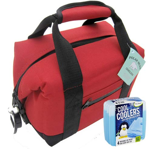 Polar Bear Coolers Nylon Series Soft Cooler Tote Size 6-Pack + Fit & Fresh Cool Coolers Slim Ice...