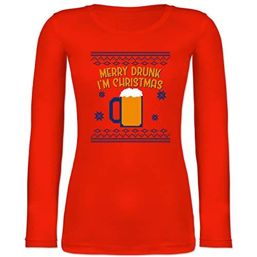 Weihnachten & Silvester - Ugly Christmas Merry Drunk I'm Christmas - L - Feuerrot - i am Christmas - BCTW071 - Langarmshirt Damen