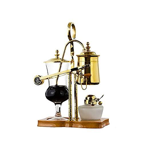 Belgijski Luksusowy Royal Balance Siphon Ekspres do kawy i herbaty, Brewer Siphon, Elegancki Wood Texture Fulcrum, Natural Drewniane Podstawowe Pokrętło Pokrywy, Kolor Złoty