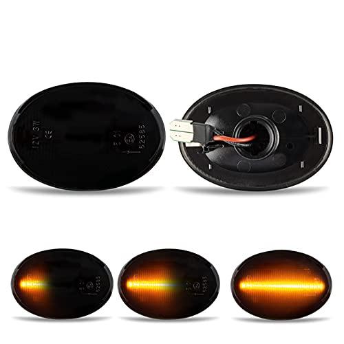 Frecce Laterale a Led Side Marker Dinamica Lente Fume compatibile con MINI Cooper R55 R56 R57 R58 R59, Lente Fumé Parafango Anteriore Sidemarker Dynamic Amber Lamps Confezione da 2