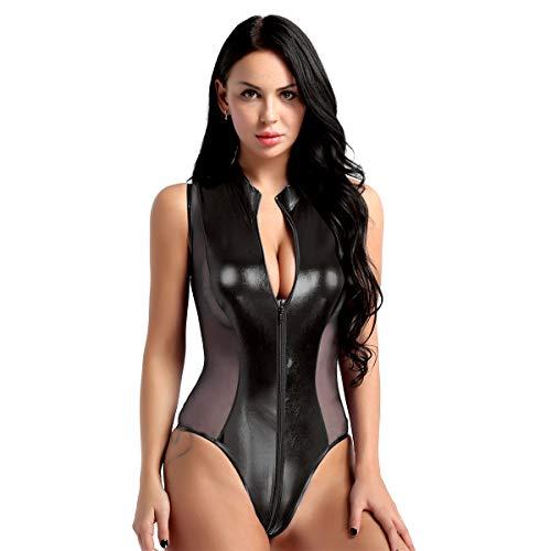 FEESHOW Damen Glänzend Bodysuit Catsuit Trikot aus Leder mit Reißverschluss Stringbody High Cut Thong Clubwear S-XL Schwarz Spleiß M