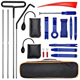 SOTOGASUKI Car Tool Kit Professional Emergency Trim Removal Tool with Easy Entry Long Reach Grabber Air Wedge Non Marring Wedge PVC Pump Bag for Automotive Truck Vehicles (19 pcs)