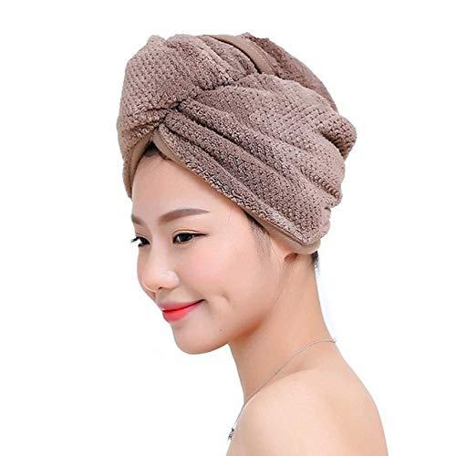 Magic Microfiber Hair Secador de Secado rápido Toalla Abrigo de baño Sombrero Gorro rápido Turbante Sombrero de Piscina seco Gorro de baño Giro Envoltura de Cabeza - Marrón