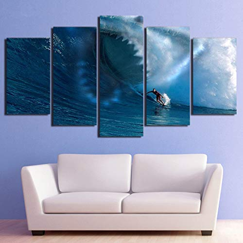 Enmarcado Modern Home Wall Art Poster Living Room Decor Painting 5 Piezas Tiburones Surf The Waves Canvas HD Impreso