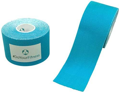 #DoYourFitness x World Fitness WFX 1x Kinesiologie Tape [5m x 2,5cm LxB] - Lange Tragezeit - elastische Bandage - Selbsklebend, 100% gewebte Baumwolle, Wasserresistent, Latexfrei - Hellblau