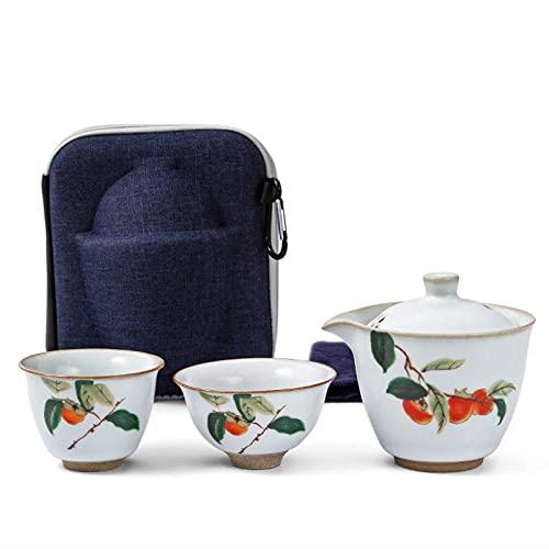 BaiJaC Tetera Japonesa, Juego de té de Viaje de cerámica Chino Servicio de té de Porcelana Blanca con Bolsa de Viaje 1 Tetera 2 Tazas de té y 1 Tela de té, Juego de té D (Color: D) (Color : C)