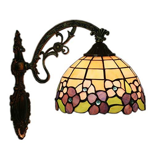 8 pollici applique da parete in stile tiffany retrò creativo lampada da parete in vetro colorato antica luci del corridoio d'epoca per camera da letto soggiorno bar ristorante caffetteria balcone E27