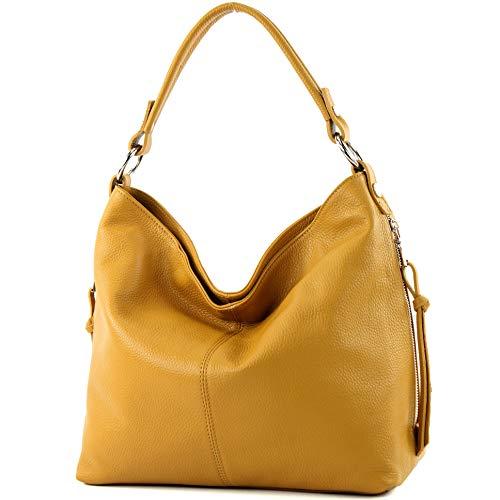 modamoda de - ital Shopper Bolsa de hombro grande de cuero T160, Color:amarillo mostaza
