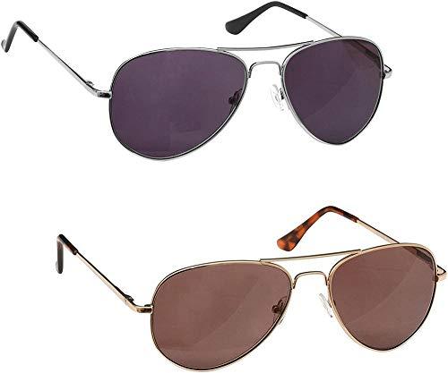 The Reading Glasses Company SS8-89-200 Occhiali Unisex per Lettura al Sole, Potenza ottica +2.00 UV400, Argento/Oro, Pacco da 2