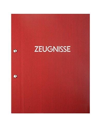 Zeugnismappe mit Leinenstruktur A4, inkl. 12 Sichthüllen und individuellem Namens-Druck (Rot)