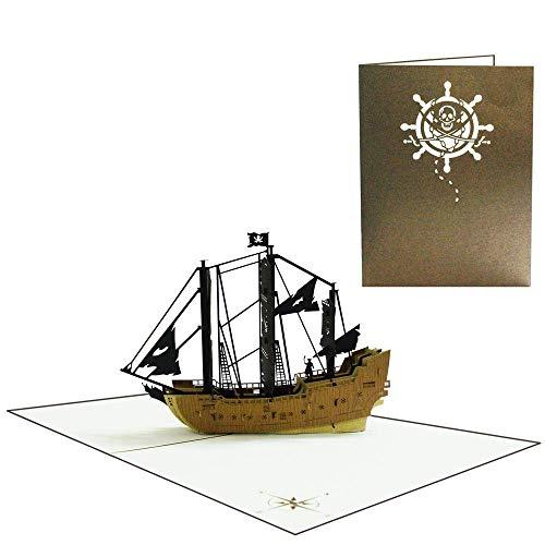 Pop Up Karte 3D Schiff Segelschiff Segeln Yacht Boot XXL Geburtstagskarte Glückwunsch Geburtstag Seemann Reisegutschein Schiffsreisen Seereisen Seefahrt Maritim Kapitän (Piratenschiff 008)
