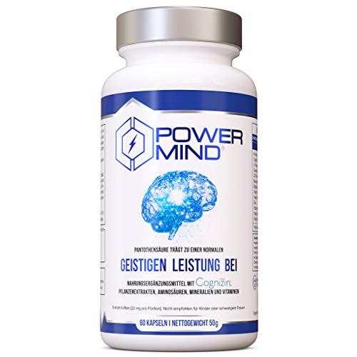 POWERMIND | Premium Brain Booster | Magnesium, Vitamin B Komplex für Konzentration und Gedächtnis | Nootropika kapseln mit CDP Cholin, bacopa monnieri, tyrosin, theanin und guarana | Hergestellt in DE