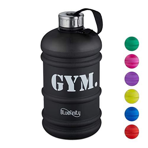 Bluefinity Water Jug 2,2l Gym, XXL Trinkflasche für Fitness & Alltag, BPA- & DEHP-frei, Milliliteranzeige, matt schwarz