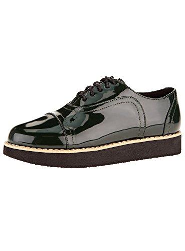 oodji Collection Mujer Zapatos Tipo Oxford de Piel Sintética, Verde, 37 EU / 4...
