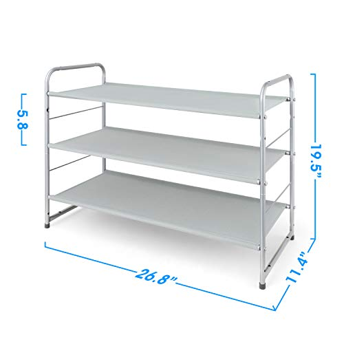 Simple Trending 3-Tier Stackable Shoe Rack, Expandable & Adjustable Fabric Shoe Shelf Storage Organizer,Silver