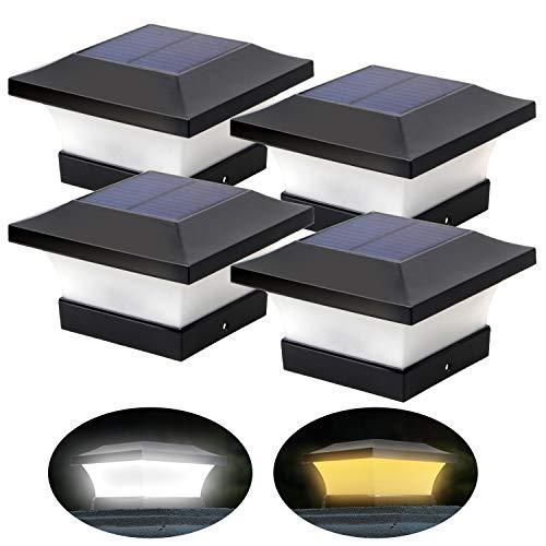 2 colores de iluminación ajustables solares LED para postes de jardín exteriores de 10 x 10 cm, cubierta, valla (luz blanca diurna 6000 K y blanco cálido 3000 K, 4 unidades)