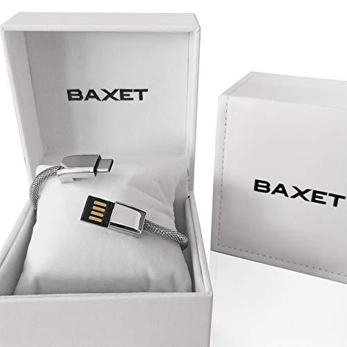 BAXET - Braccialetto di ricarica unisex | cavetto portatile in metallo microintrecciato | bracciale USB trasmissione dati | Idea Regalo Tecnologico (SILVER, 20cm TypeC)