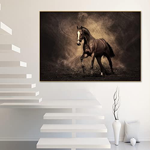 yunxiao Wall Art Pintura Abstracta sobre Lienzo, imágenes para Sala de Estar, Cuadros de Animales de Carreras de Caballos Marrones, Carteles artísticos de Pared para salón, Impresiones 50x70cm