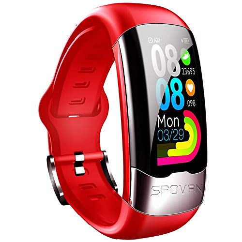 HONGDELI SPOVAN Smart Sports Watch Pulsera Can Display Heart Rate, Blood Pressure and Electrocardiogram, rojo