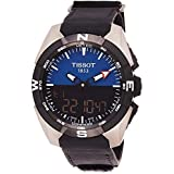 Tissot Men's Swiss Quartz Titanium and Black Leather Casual Watch (Model: T0914204604100)