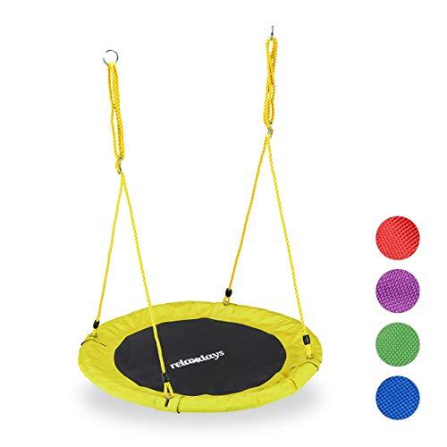 Relaxdays Unisex– Erwachsene, gelb Nestschaukel, rund, für Kinder & Erwachsene, verstellbar, Ø 90 cm, Garten Tellerschaukel, bis 100 kg, H x D: ca. 5 x 90 cm