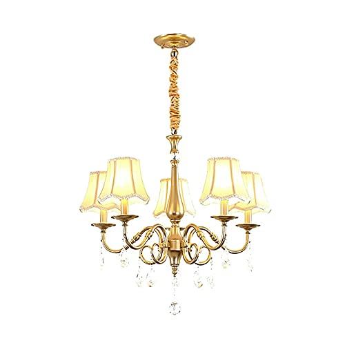 Lampade a soffitto E14 Lampadario regolabile con decorazione di cristallo, ferro moderno di lusso per soggiorno camera da letto (Color : Golden)