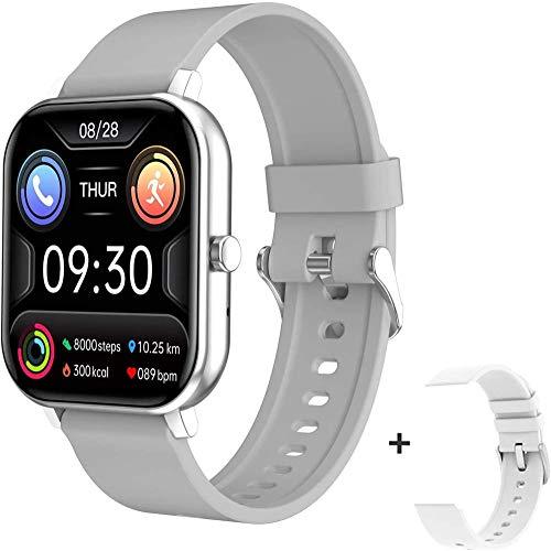 Reloj inteligente de 1,54 pulgadas para hombre, con seguimiento de actividad física, inalámbrico, llamada, presión arterial, para mujer, reloj inteligente, para Android iOS y plata