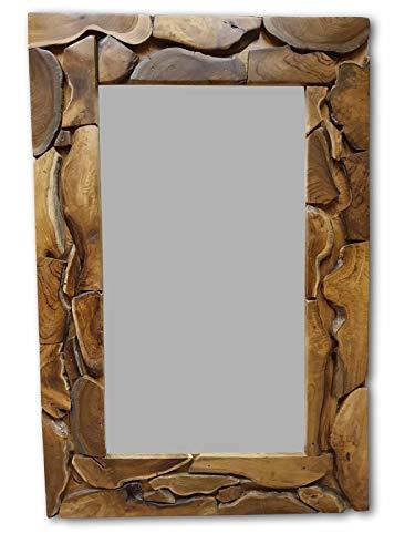 Kinaree houten spiegel HAI Phong - 120x80 cm teakhouten wandspiegel met frame | garderobespiegel in rustieke look geschikt voor woonkamer, hal en slaapkamer