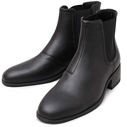 glabella グラベラ チェルシー ブーツ サイドゴア メンズ ヒール カジュアル ハイカット 黒 ベージュ 靴 くつ シューズ スエード スウェード 大人 オシャレ かっこいい glbb-166-L-BK サイズ:L(27.0cm-27.5cm) ブラック ※返品不可