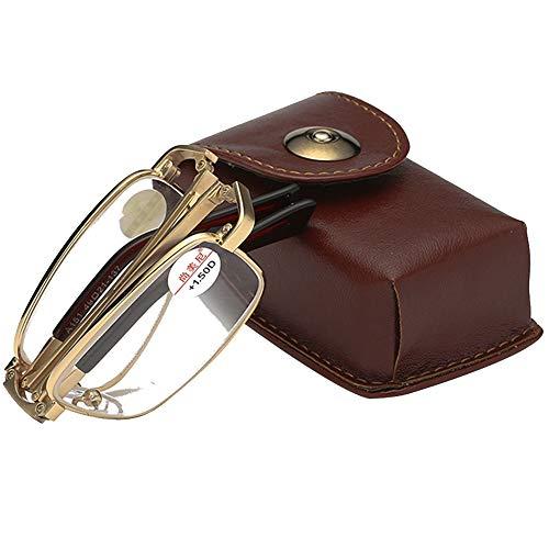 Beauer leesbril tegen vermoeidheid, metalen frame, opvouwbaar, draagbaar, veiligheidsbril van HD-glas, UV-bescherming, geschikt voor mobiele telefoons voor het lezen van kranten